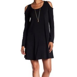 Karen Kane Dress Cold Shoulder Trapeze Black Swing